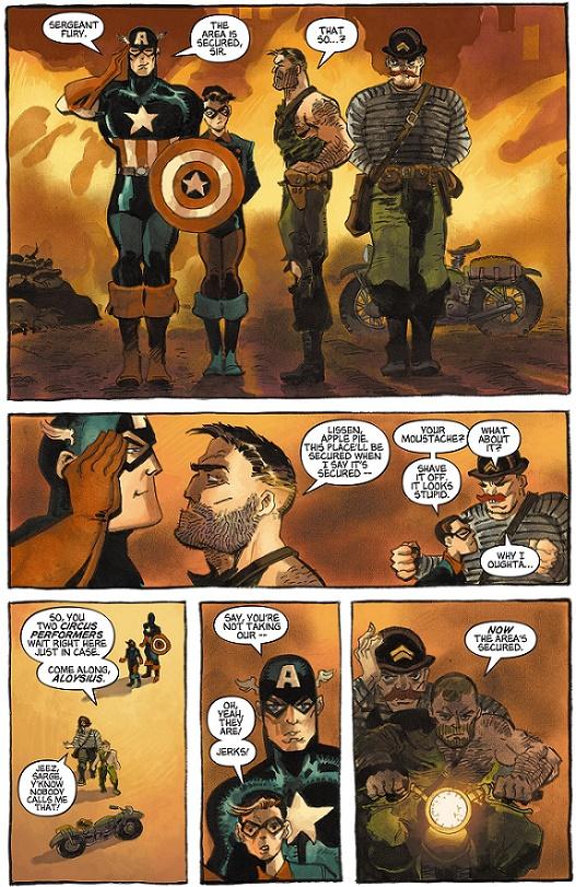 Le Howling Commando: Un Dum Dum Dugan tel qu'en lui-même, mais un Nick Fury sans son bandeau…