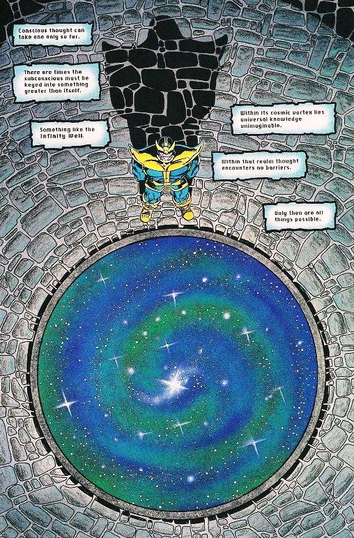Thanos à l'affut d'une vision dans le puits de l'infini