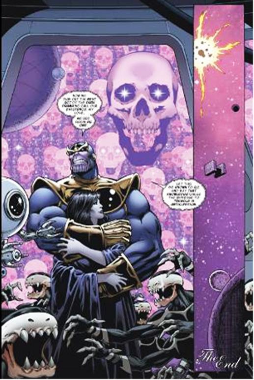 Thanos à la noce avec son sac d'os…