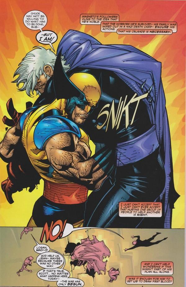 Wolverine tue Magneto dans le dernier Lobdell avant que Morrison ne le tue un numéro après à Génosha avant de le ressusciter pour le tuer de nouveau pour que....