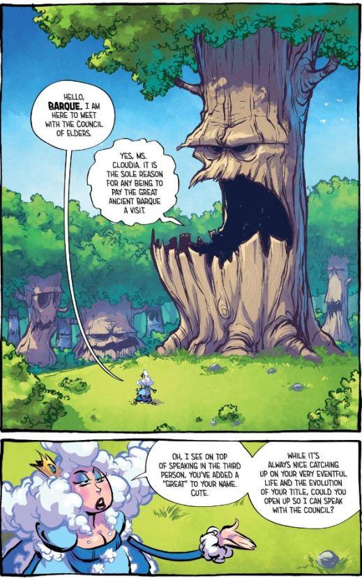 La reine Cloudia et un arbre sarcastique