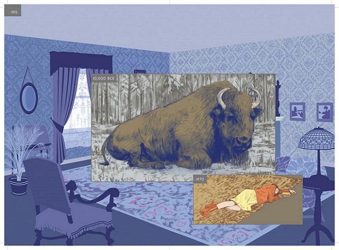 Le bison trônait dans le salon… une référence à Bunuel et Dali?