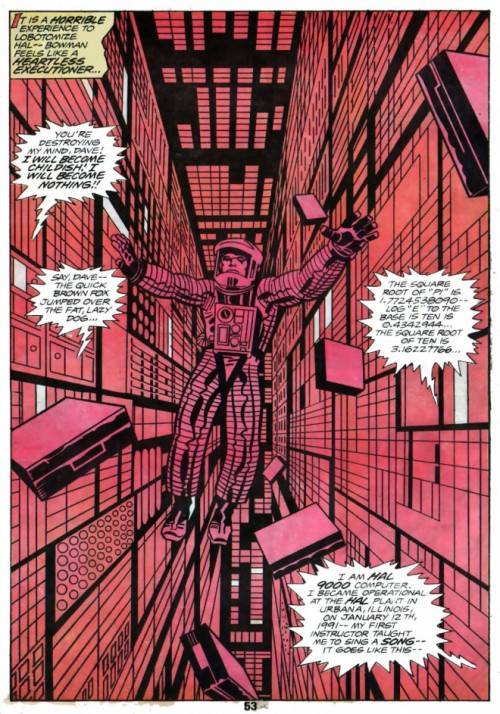 Une différence entre comics et cinéma: la verticalité de la page face à l'horizontalité de l'écran