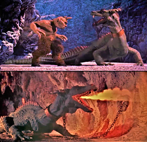 Un 7ème voyage chez les cyclopes et les dragons   photos libres de droits  Sources : https://commons.wikimedia.org/wiki/File:7th_voyage_of_Sinbad_-_Cyclops_vs_Dragon.png et https://commons.wikimedia.org/wiki/File:7th_voyage_of_Sinbad_-_Taro.png
