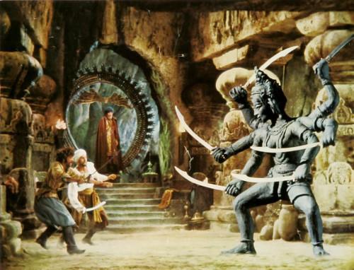 Le voyage fantastique de Sinbad, bien que moins réussi que le 7ème voyage en termes d'histoire, contient quelques scènes magnifiques comme le combat contre la statue de Kali  Photo libre de droits source: intelacriticrobot