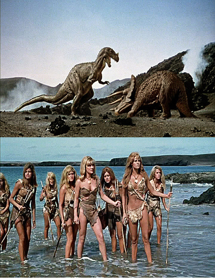 Un million d'années avant J.C : un film de la Hammer des années 60. Des dinosaures et Raquel Welch et ses copines vêtues de peaux de bêtes. Un brin racoleur, vous dîtes ? / photos libres de droits / sources : https://www.flickr.com/photos/blile59/3028677615/ et https://www.flickr.com/photos/blile59/3028678093