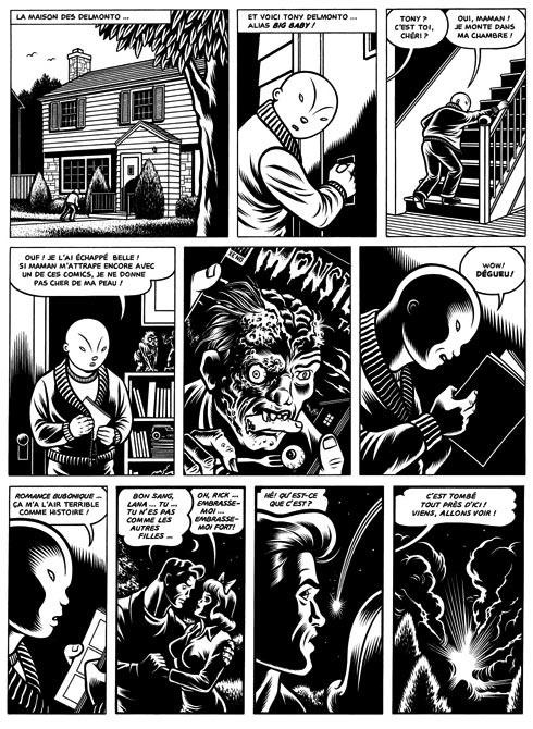 Big Baby lit des comics d'horreur en cachette