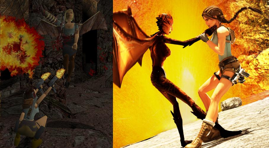 """Lara Croft et sa Némésis, Jacqueline Natla, dans l'original et le remake """"Anniversary"""""""