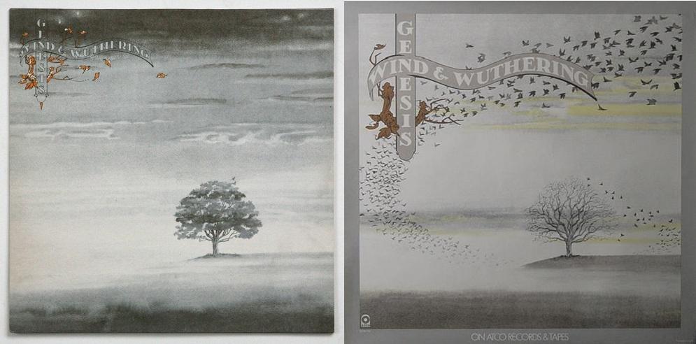Wind and Wuthering par Genesis. A gauche, la pochette, à droite, le dos.