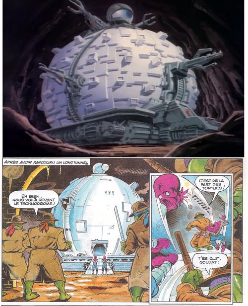 Le technodrome dans le dessin animé et dans les BD : même (absence de) combat