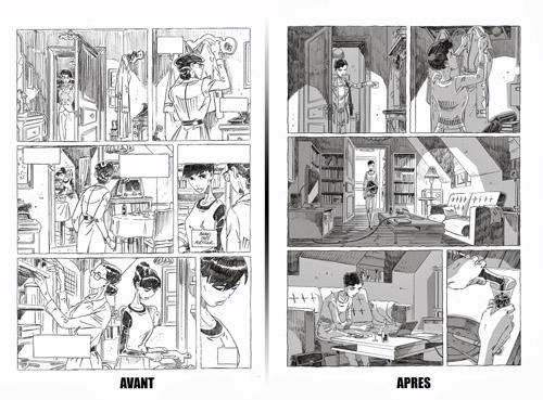 Parfois les récits évoluent beaucoup au fil du processus créatif: ici une planche d'Amorostasia dans sa version «années 50» puis la planche finale, plus contemporaine…