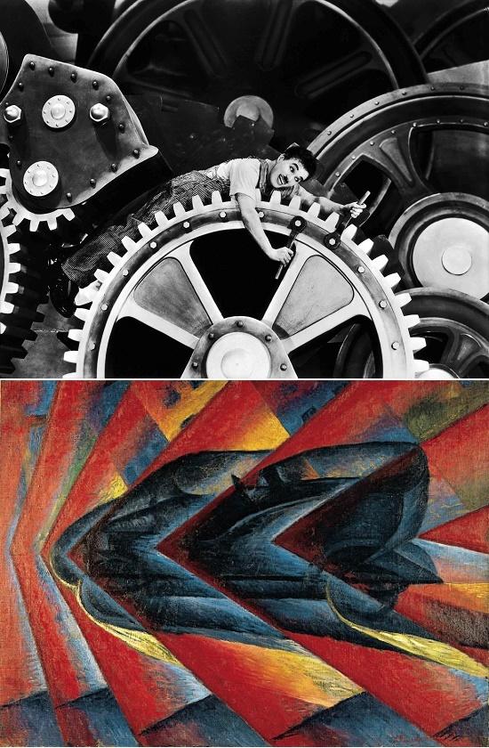 Chez Charles Chaplin ou Luigi Russolo (peintre futuriste italien): Le progressisme des années 20 est en marche (ou comment traduire le mouvement en image)!