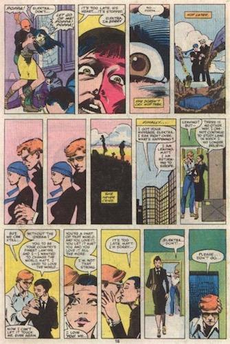 L'origine initiale d'Elektra, plus condensée et qui s'avère supérieure (Daredevil #168)