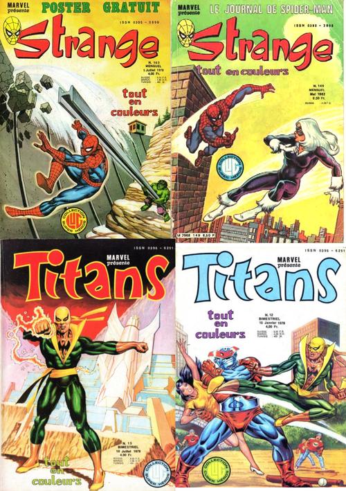 Des images de mon enfance signées Frisano : la couverture du Strange N°103 avec une aventure de Spider-man et Hulk qui précédait celle de la mort de Gwen Stacy http://www.brucetringale.com/sorry-angel-sorry-so/ (dans le Strange N°104), l'arrivée de Black Cat dans les pages du Strange N°149, et les couvertures des numéros de Titans qui hébergeaient les gardiens de la galaxie http://www.brucetringale.com/sf-vintage-chez-marvel-1st-gardiens-de-la-galaxie/