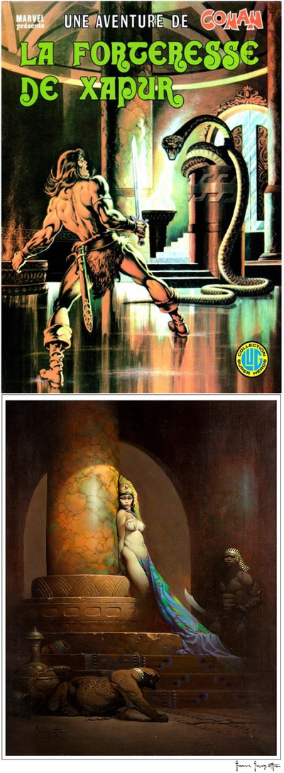 Frisano s'inspirant de la reine Egyptienne de Frazetta pour sa couverture de Conan en reproduisant la colonne en arrière plan.