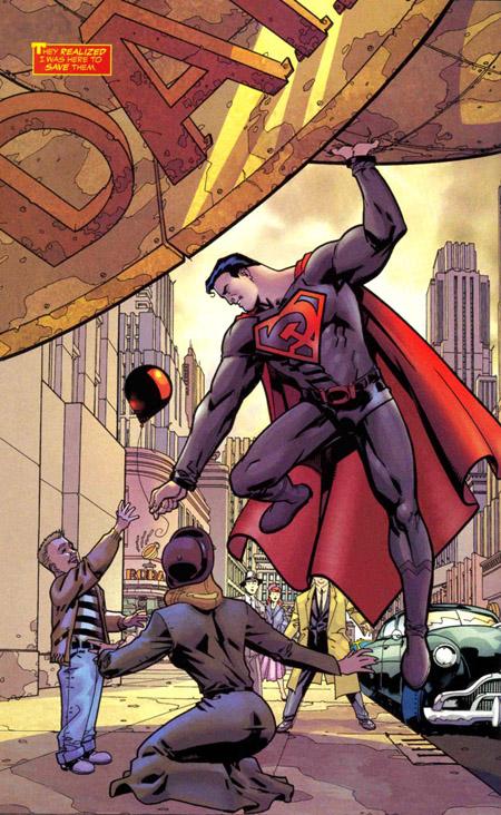 Une pleine page détournant la pose de couverture de Superman #1