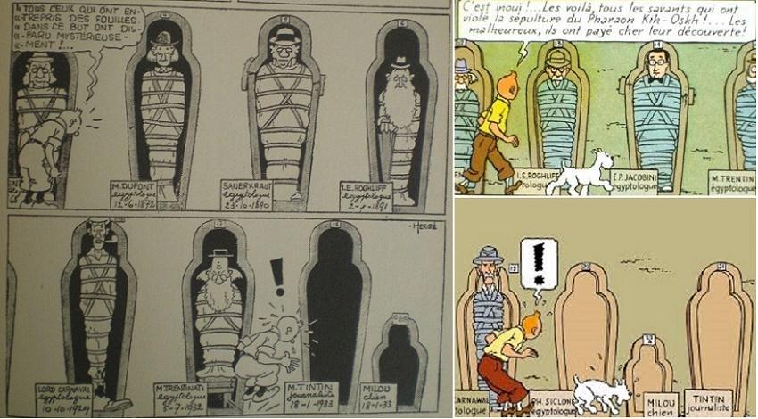Pour la 2nde version, E.P. Jacobs en personne est invité au milieu des sépultures!