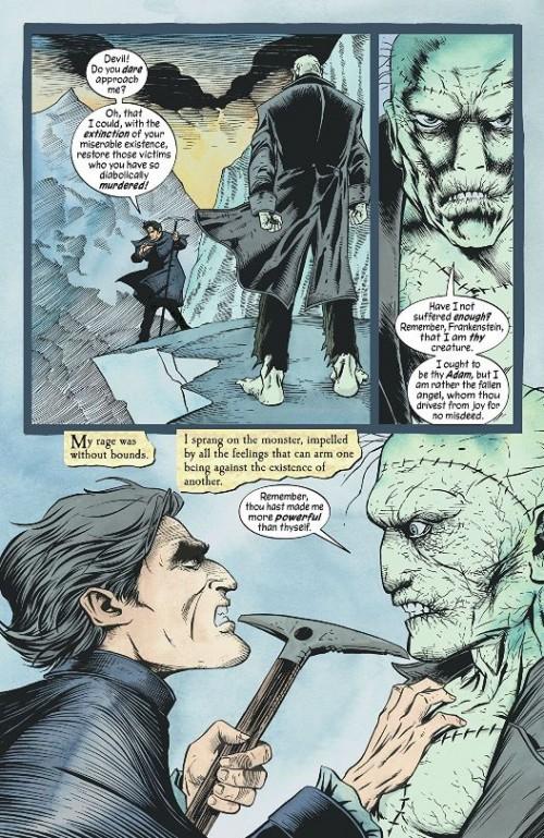 Le créateur Frankenstein et sa créature