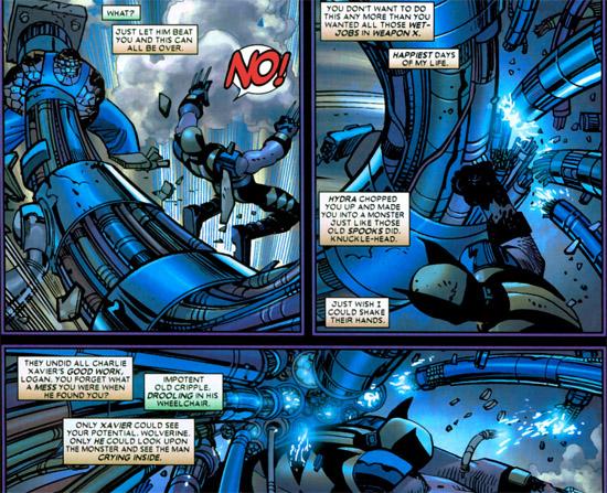 Wolverine, pas tout seul dans sa tête, tiraillé entre sa personnalité de héros et sa programmation d'assassin