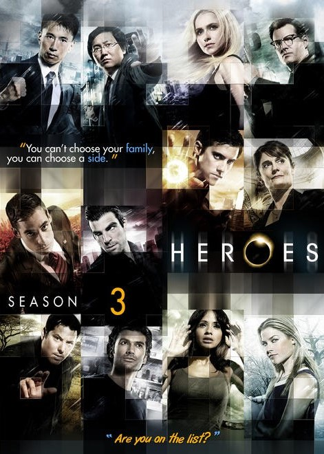 Un joyeux foutoir oui ! © NBC / Source : dvdca.  http://dvdca.com/coverart/Custom_DVD_Covers/Custom_DVD_TV_COVERS/Heroes_Season_03_Box_SlimCase_Spine_R1-Sens.jpg.html