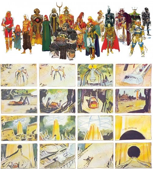Recherches graphiques et story-boards détaillés, effectués par Moebius en personne pour le film Dune de Jodorowsky !