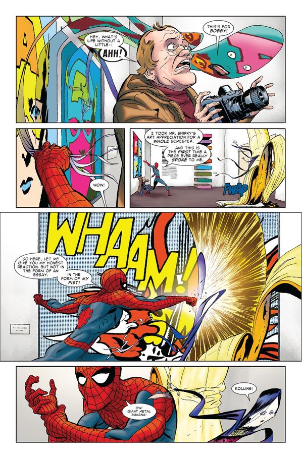 Un combat visuellement inspiré lorsque PaperDoll intègre des œuvres d'art dans un musée et que le combat avec Spider-man revêt une dimension référentielle.