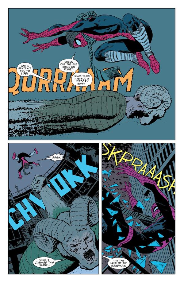 Spider-man, un héros si proche du bas peuple qu'il porte des chaussettes et un bonnet par-dessus son costume.