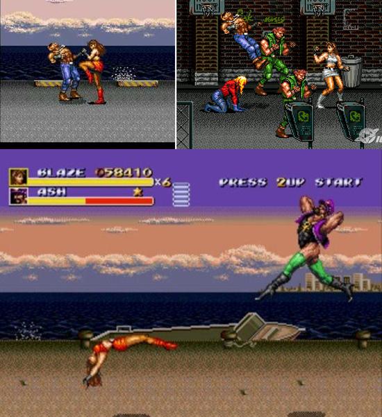 En haut, Blaze dans la version rouge japonaise, puis grise occidentale. En bas, un boss efféminé barbu jugé trop hardcore pour nous à l'époque