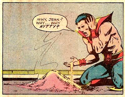 En renaissant de ses cendres, Phénix pulvérise Kitty Pryde.  Ma réaction fut la même que Peter que je découvris cette histoire.