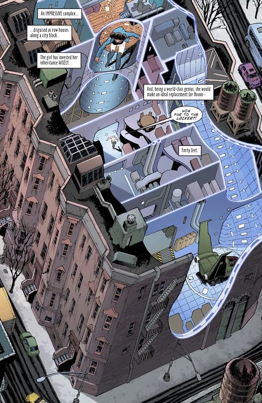 La fuite de Deathstroke dans une coupe d'immeuble