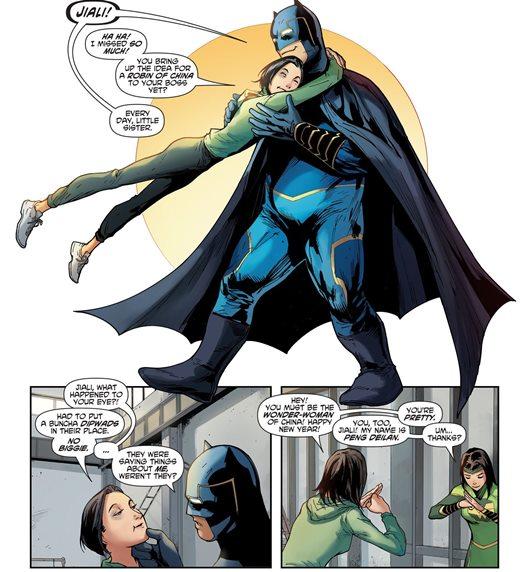 Un Bat-Man qui sourit et qui fait preuve d'affection