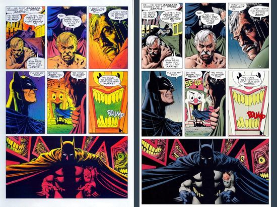 Ça, c'est The Killing Joke http://www.brucetringale.com/comme-au-cinema/ d'Alan Moore dans ses deux versions colorisées. Imaginez juste que DC ait vendu les droits du comics et que la deuxième version ait été décalquée et attribuée à un autre auteur en toute légalité. Vous auriez envie d'en attribuer le mérite au nouvel auteur ou de lui dire qu'il se fout du monde ?