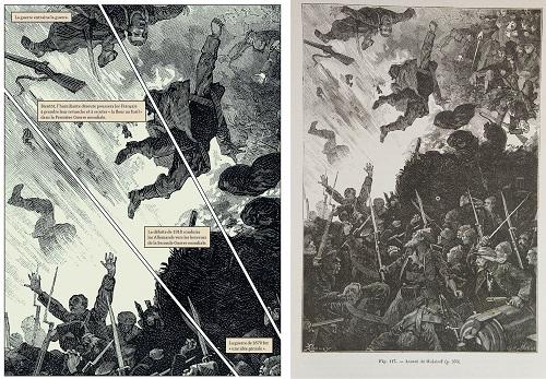 A gauche la version recadrée de la BD , à droite la gravure originale