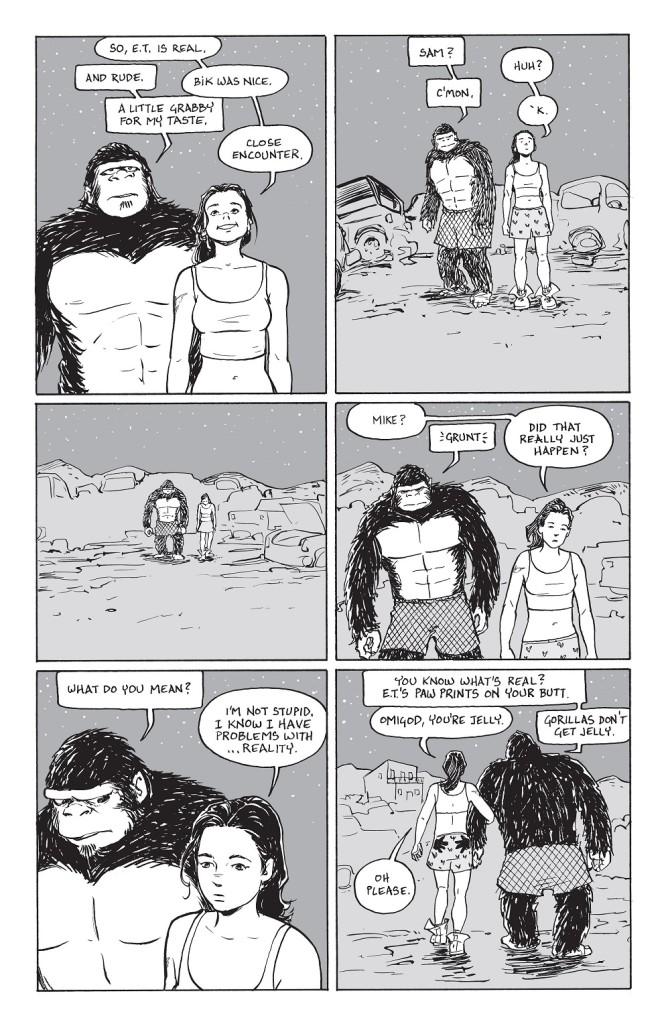 Une femme chercher des aliens en plein désert avec un gorille en caleçon....Tout va bien !