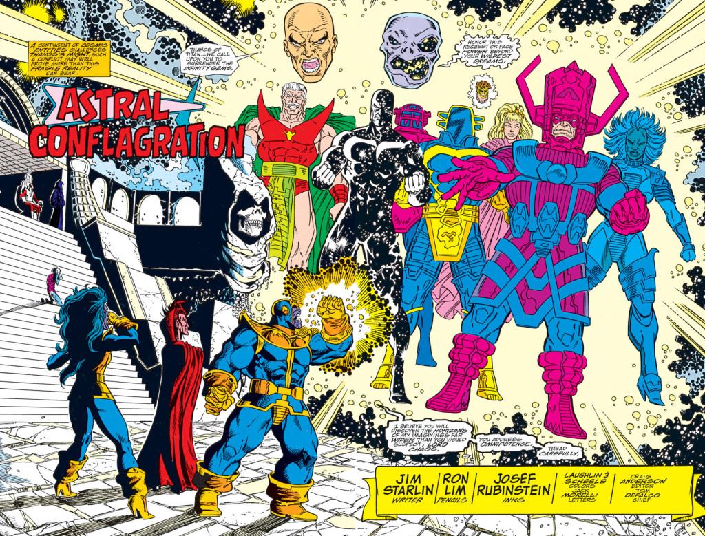 Alors vous me mettrez deux celestials, un titan fou, un bouffeur de planètes et une entité universelle et l'addition, s'il vous plait. ©Marvel Comics
