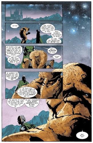 Grimm ne reste pas de marbre face aux arguments de Doom  © Marvel Comics