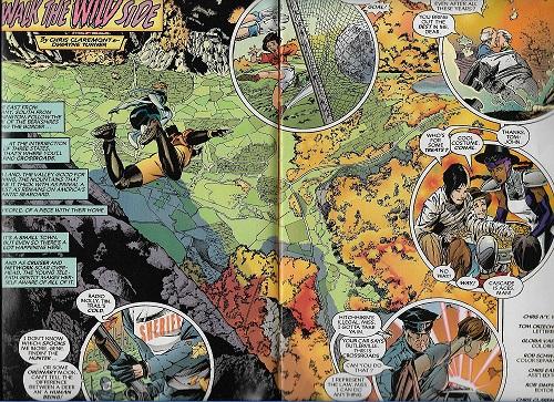 Des super héros bucoliques dans un paysage quasi forestier, loin des délires urbains habituels. ©Chris Claremont/DC comics