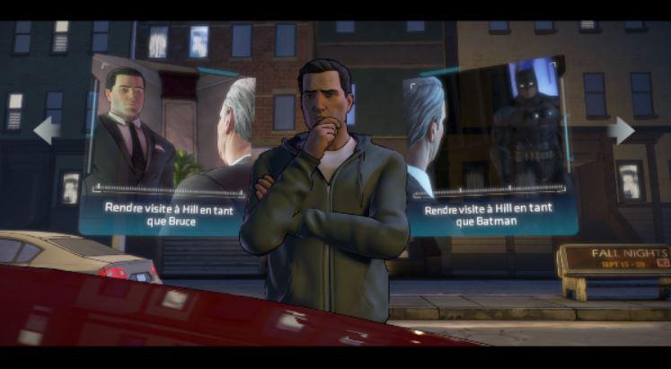 Vous devrez parfois choisir dans quel endroit vous rendre en premier, ou choisir de vous rendre quelque part en Bruce Wayne ou en Batman, pour des approches différentes d'une même scène (subtilité ou intimidation)  ©Telltale Games Source : jeuxvideo.com http://www.jeuxvideo.com/screenshots/451777-0-0