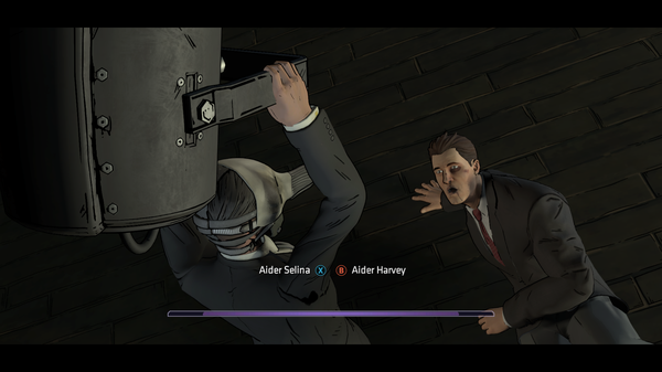 Le Pingouin menace Harvey Dent  ©Telltale Games Source : jeuxvideo.com http://www.jeuxvideo.com/screenshots/451777-0-0