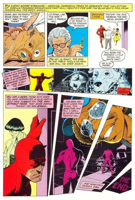 Daredevil échoue à retrouver un chien d'aveugle avant son euthanasie, une façon de renvoyer un super-héros à la réalité de son handicap. ©Marvel