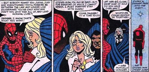 Spider-Man face à Cloak and Dagger, complètement largué le pauvre. ©Marvel