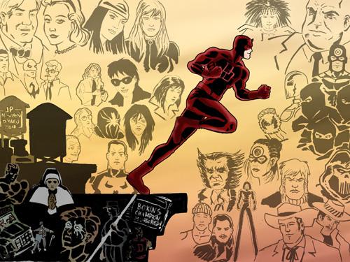 J'avais aussi envoyé à Laurent un contre-exemple de ce qu'il ne fallait pas faire, avec un dessin d'un obscur fan du Diable Rouge. Daredevil (c) et TM Marvel Comics
