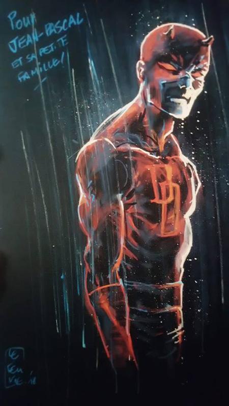 Et DD surgit de la page noire, par la magie du maître du Posca! Daredevil (c) et TM Marvel Comics