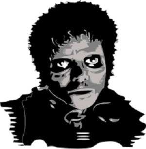 Le roi de la pop grimé en zombie. Source : https://en.wikipedia.org/wiki/Michael_Jackson%27s_Thriller_(music_video)