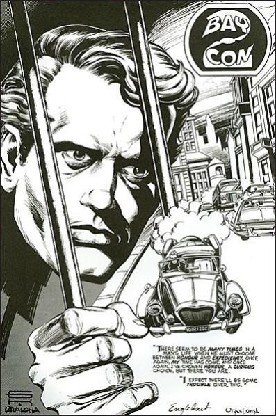 La seule page encrée du comics de Gil Kane (réalisée à l'occasion d'un convention). On notera la voiture pour le moins fantaisiste conduit par le Prisonnier.  © Titans Comics