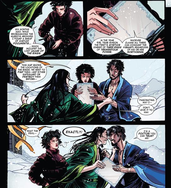 Wong et Strange en rivaux qui se querellent pour la jolie fille  ©Marvel comics