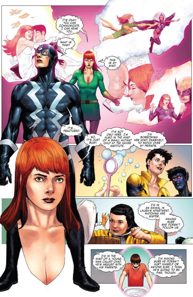 La seule scène interessante de lalbum : Jean Grey rétablit le dialogue avec le meurtrier de son mari.  C) Marvel Comics