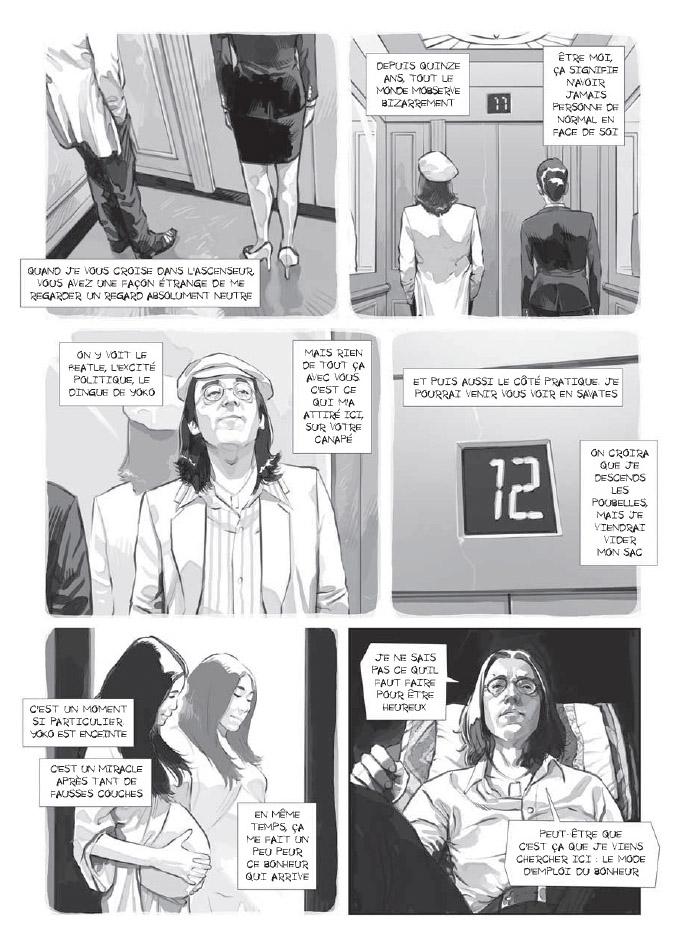 Une mise en scène habile où le lecture est à la fois dans les souvenirs de Lennon et sur le Divan avec lui. ©Marabulles