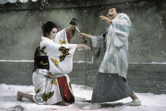 Une vengeance sanglante  / ©Toho /©HK Vidéo / source : Bloody Disgusting https://bloody-disgusting.com/reviews/3375598/blu-ray-review-complete-lady-snowblood-gets-much-deserved-criterion-treatment/