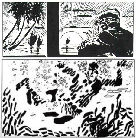 Un dessinateur qui cherche encore son style, entre épure et réalisme (ici avec deux exemples contrastés) © Casterman